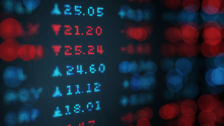 stock price quote: Stock exchange rates data board. Shallow DOF. Computer generated 3D illustration Stock Photo