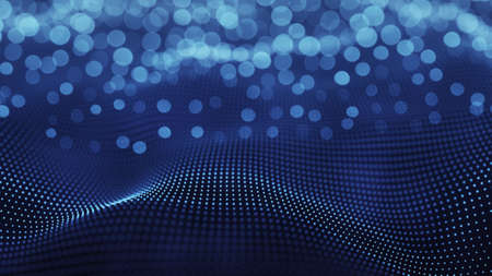 vibrate: Blue futuristic surface. Selective focus. Abstract 3D render