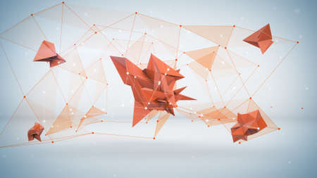 hightech: Low poly futuristic network shape. Abstract 3d rendering