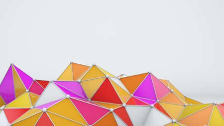 Bright low poly shape. Abstract 3D rendering