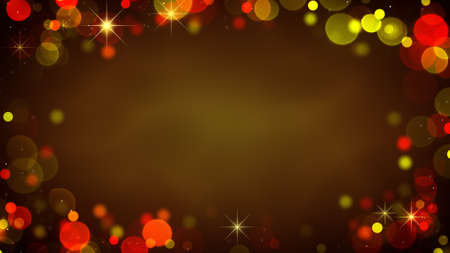 blinking: Frame of glowing blurry golden lights and blinking stars. Holiday abstract background