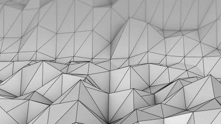 rendering: Polygonal grey relief. Abstract 3D rendering