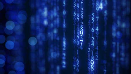 dof: Blue digital matrix rain on screen. Shallow DOF Stock Photo