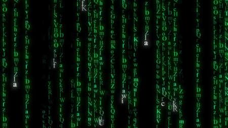 computer generated: Green alphabet matrix rain. Computer generated abstract background Stock Photo