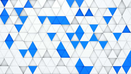 extruded: White and blue extruded triangles. 3D render abstract geometric background Stock Photo
