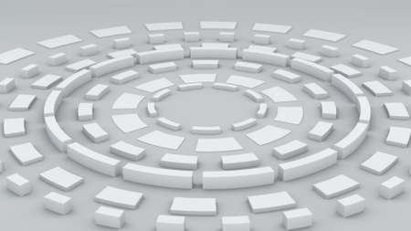 render: White circular elements. Abstract 3D render Stock Photo