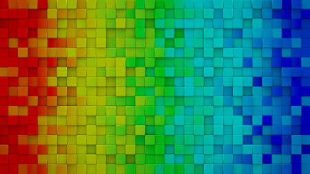 computer generated: Bright rainbow gradient extruded cubes. Geometric 3D render. Computer generated abstract background