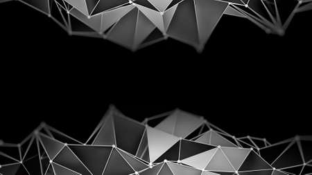 black background abstract: Low poly chrome constructions on black. Abstract futuristic 3D render background