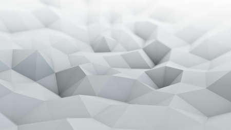 dof: White polygonal surface waving 3D rendering. Abstract geometrical modern background with DOF