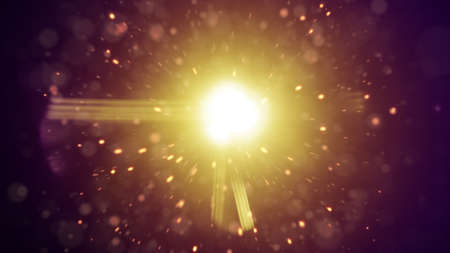 flare: Lens flares and flying particles. Abstract background