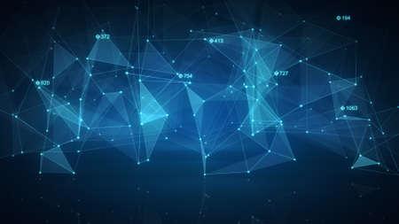 red informatica: forma la red de ciencia ficción azul. Fondo de tecnología futurista abstracto. Generado por ordenador ilustración de la trama