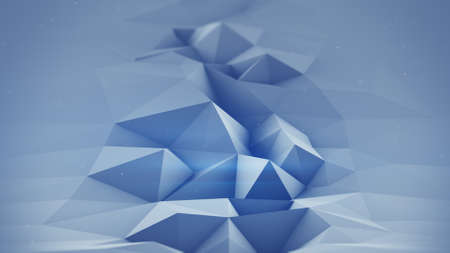 dof: Blue polygonal surface waving 3D rendering. Abstract geometrical modern background with DOF