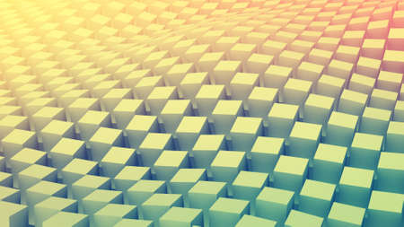 checkered pattern: Checkered cubes surface waving. Abstract geometric background. 3D render illustration