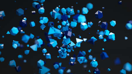polygons: Blue chaotic Polygon particles. Abstract 3D rendering with shallow DOF