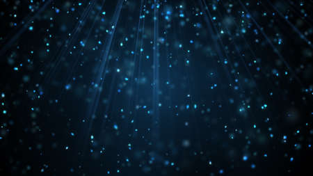 Blue snow particles falling in light rays. Computer generated graphic. Holiday abstract background