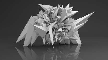 render: Polygonal shape. Abstract futuristic 3D render illustration
