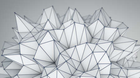 3d shape: Spiky low poly shape. Abstract futuristic 3D render