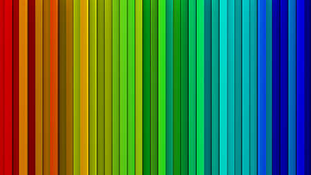 emboss: Bright rainbow gradient extruded vertical lines. Computer generated abstract background. Geometric 3D render illustration
