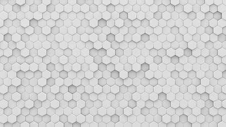 白い六角形のモザイク。コンピューターは、抽象的な幾何学的な背景を生成します。3 D のレンダリングの図