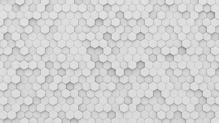 White hexagons mosaic. Computer generated abstract geometric background. 3D render illustration 스톡 콘텐츠