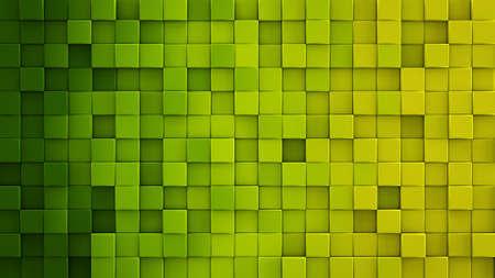 黄色緑グラデーション押し出しキューブ モザイク。幾何学的な 3 D のレンダリングの図。コンピューター生成された抽象的な背景
