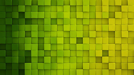 Yellow green gradient extruded cubes mosaic. Geometric 3D render illustration. Computer generated abstract background