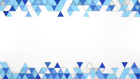 free abstract: Blue extruded triangles and free space. 3D render abstract geometric background