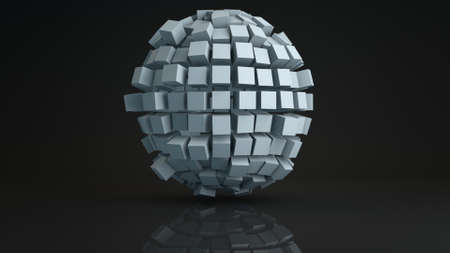 to pulsate: Ball cluster of cubes deformed. Geometric sci-fi shape with reflection. Computer generated abstract 3D render illustration Stock Photo