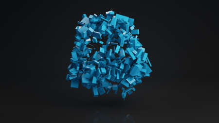 to pulsate: Ball cluster of blue bricks. Geometric sci-fi shape with reflection. Computer generated abstract 3D render illustration