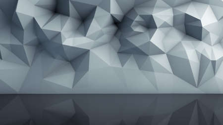 render: Polygonal surface with reflection. Abstract geometric background. 3D render illustration