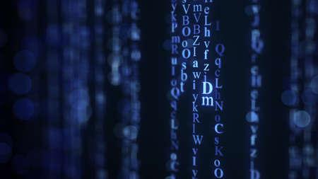 shallow: Blue alphabet matrix rain on screen. Shallow DOF