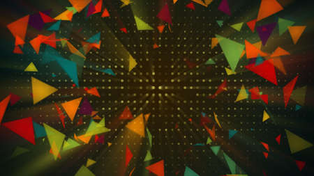 discoteque: Shiny colorful triangles. Abstract holiday 3d rendering background