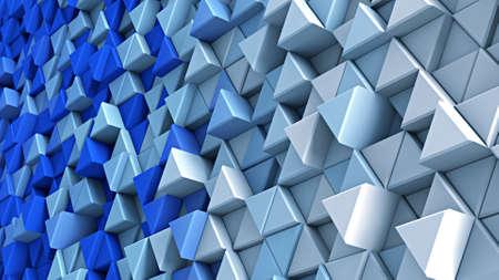 wall design: Wall of blue and white extruded triangles. Abstract 3D render illustration