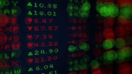 stock price quote: Digital Stock exchange panel. Selective focus. Computer generated 3D rendering Stock Photo