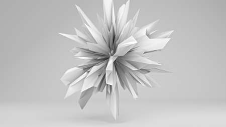 to pulsate: White sharp edged 3D shape. Abstract 3D render