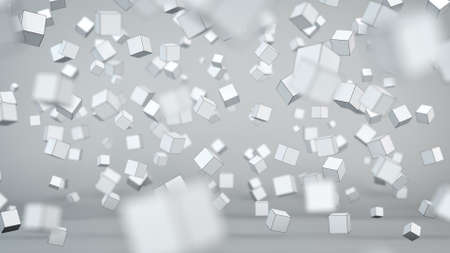 blur: Chaotic cubes particles. Abstract 3D render with Depth of field Stock Photo