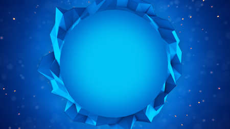 computer banner: Blue polygon Banner. Abstract 3D render. Computer generated template background