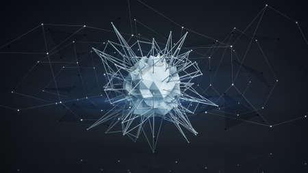cosmo: Futuristic polygonal core shape. Abstract futuristic sc-fi concept. 3D render illustartion