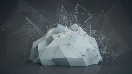plexus: Grey futuristic network shape. Abstract future technology construction. 3D render illustration Stock Photo