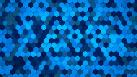 Blue hexagons mosaic. 3D render abstract background