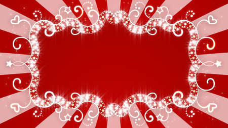 curle: glowing red banner on background with rays. Computer generated abstract illustration