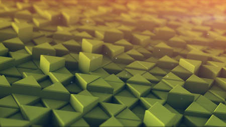toned: Extruded triangles toned mosaic. 3D render abstract background Stock Photo
