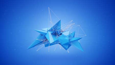 Future blue shape. Abstract sci-fi 3D Render illustration