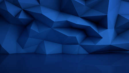 Polygonal blue surface with reflection. Abstract geometric background. 3D render illustration 스톡 콘텐츠