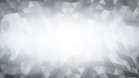 triangular: White polygonal geometric background. Computer generated abstract 3D render illustration Stock Photo