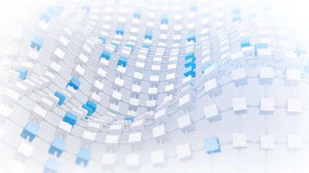 deform: Waving lattice of cubes. Abstract geometric 3D render illustration