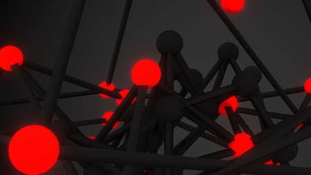 scifi: Glowing red atom grid close-up. Abstract sci-fi 3D render illustration