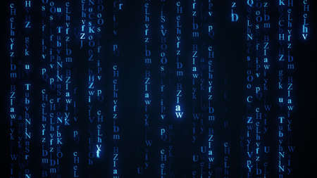 computer generated: Blue alphabet matrix rain. Computer generated abstract background