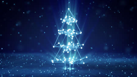 Glowing wireframe christmas tree shape. Abstract holiday 3D render 版權商用圖片