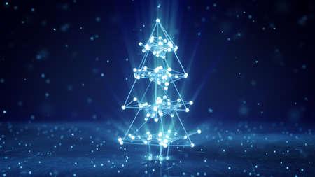 Wireframe que brilla intensamente forma del árbol de navidad. Resumen de vacaciones en 3D render